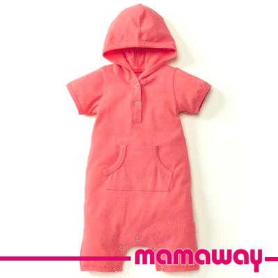 【Mamaway】連帽開襟平口褲包屁衣(粉橘)