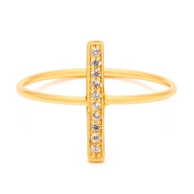 Gorjana 平衡骨 直立式 細緻鑲白鑽金色戒指 鍍18K金
