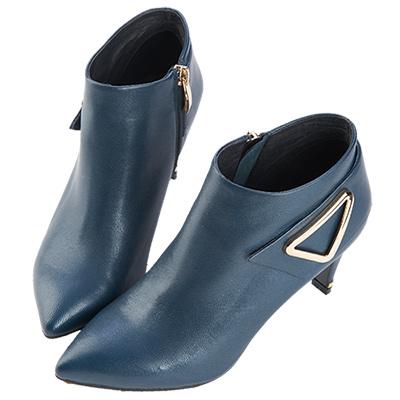 Robinlo Studio 摩登俐落高跟羊皮踝靴 藍