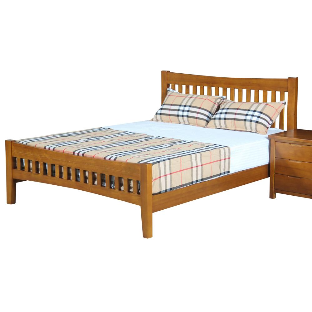 AT HOME 伯斯5尺實木柚木色雙人床(154*200*100cm)(不含床墊)