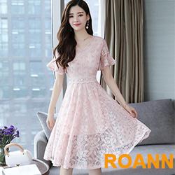 小清新V領縷空蕾絲露背洋裝 (共二色)-ROANN