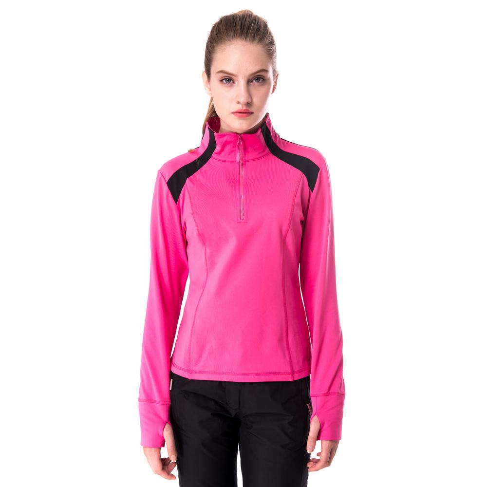 【hilltop山頂鳥】女款ZISOFIT彈性半開襟保暖上衣H51FF9桃紅/黑