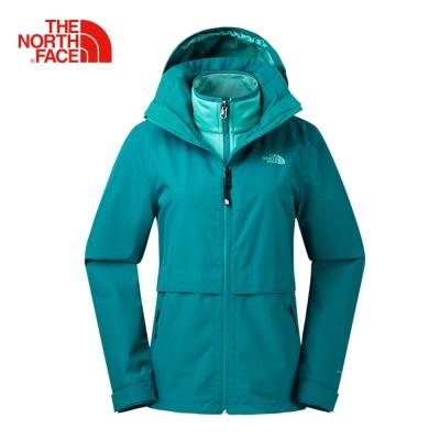 The North Face北面女款藍色透氣三合一防水外套