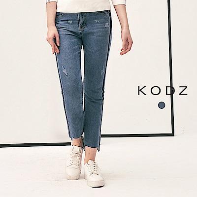 東京著衣-KODZ 丹寧系個性抽鬚配色設計牛仔褲-S.M.L(共一色)