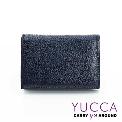 YUCCA - 牛皮俏麗多彩名片夾(迷你皮夾)-深藍色- 02200070009