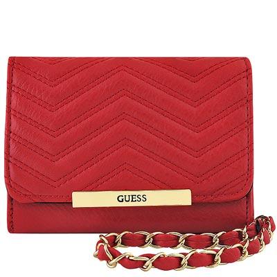 GUESS 紅色皮革壓紋鍊帶手抓包
