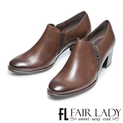 Fair Lady 率性雅痞拉鍊粗跟牛津踝靴 咖啡