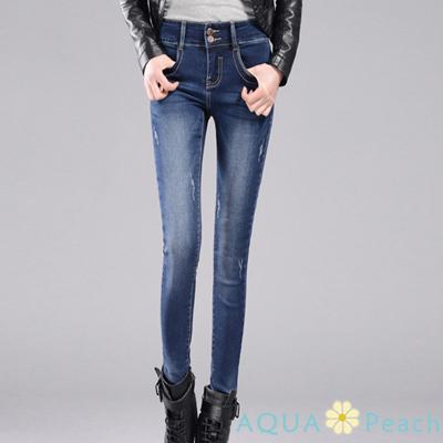 中腰排釦刷破痕設計小腳牛仔褲 (共二色)-AQUA Peach