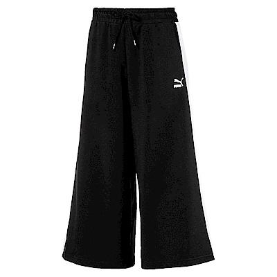 PUMA-女性流行系列9分寬口長褲-黑色-亞規