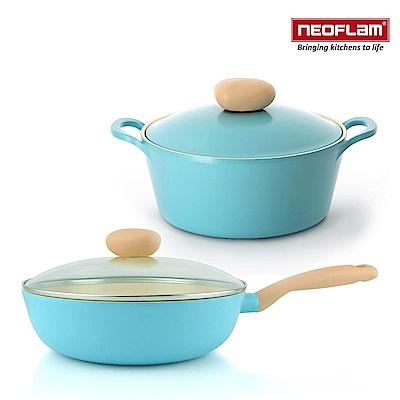 韓國NEOFLAM Retro公主湯炒雙鍋組-炒鍋26cm+湯鍋22cm