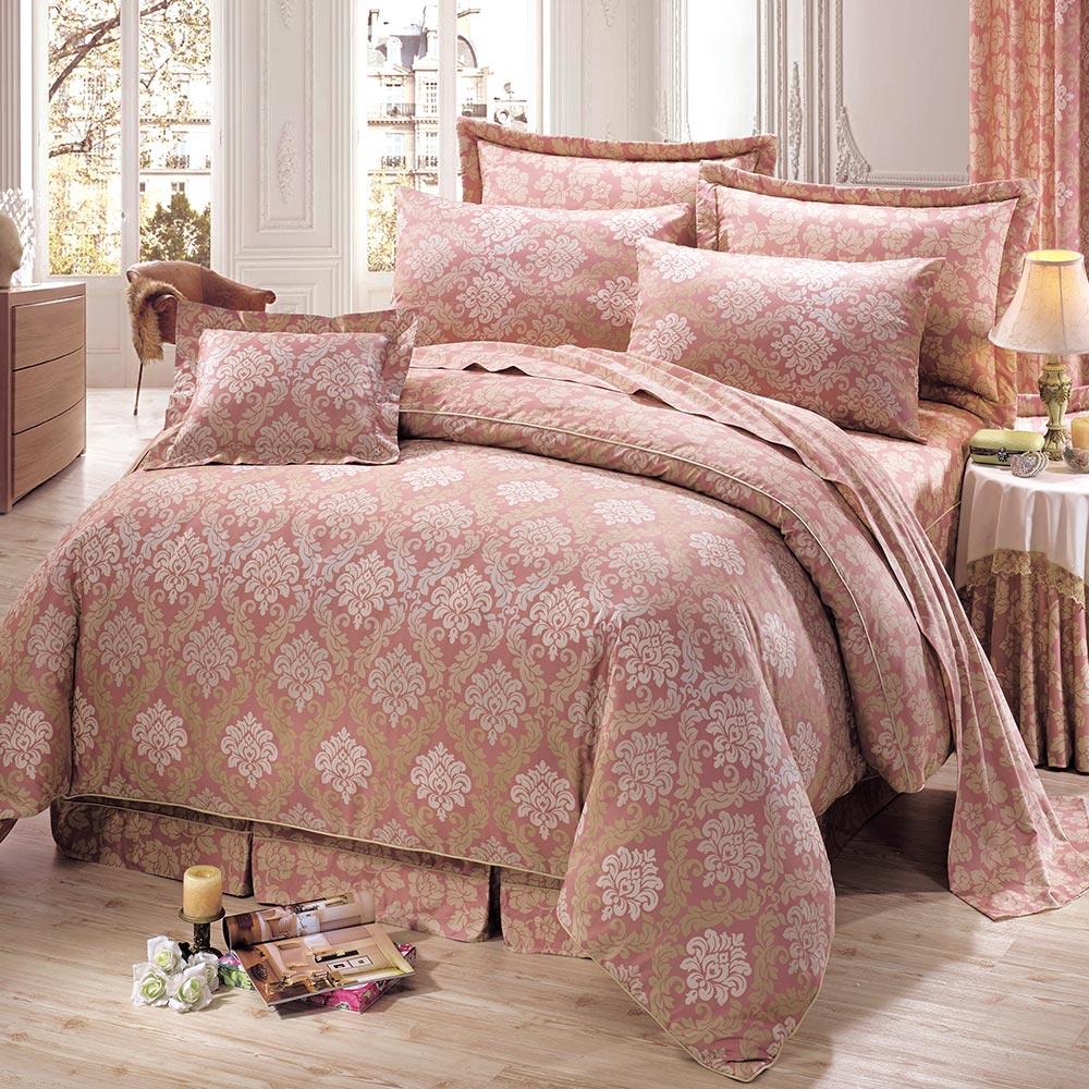 鴻宇HongYew 300織精梳棉-費歐娜 粉-雙人加大七件式兩用被床罩組