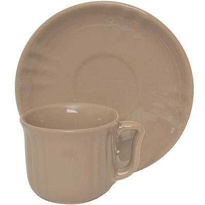 EXCELSA Chic陶製咖啡杯碟組(淺棕90ml)
