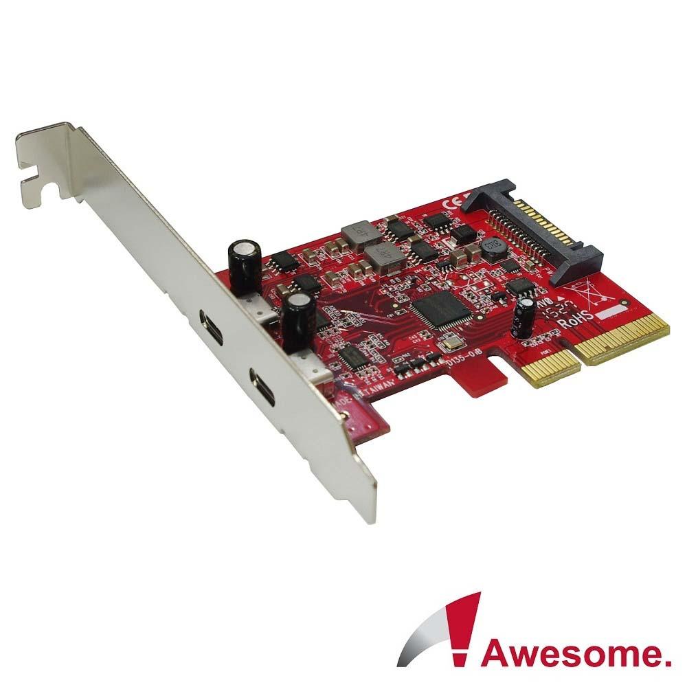 Awesome PCIex4 2埠TypeC 10Gbps擴充卡-AWD-UB-135