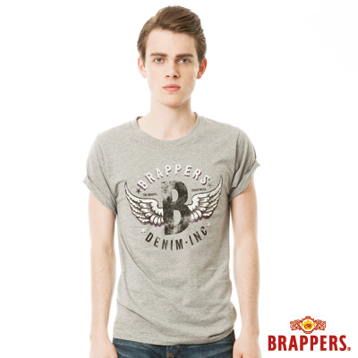 BRAPPERS 男款 日本製大翅膀印花短袖T恤- 灰底紫翅