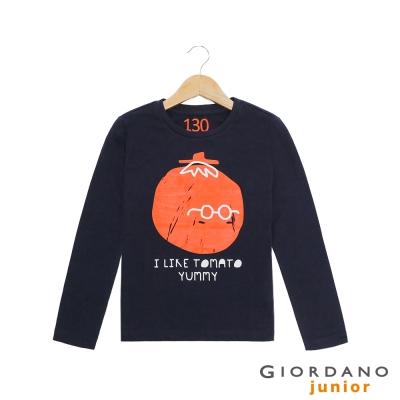 GIORDANO 童裝 趣味印花純棉長袖T恤- 03 標誌海軍藍