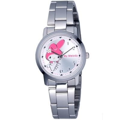 HELLO KITTY 美樂蒂愛心俏麗優質手錶-銀x白/30mm