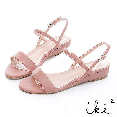 iki2 甜美一夏 百搭設計斜帶小坡跟鞋-玫瑰