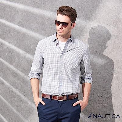 Nautica經典細格紋長袖襯衫-灰藍
