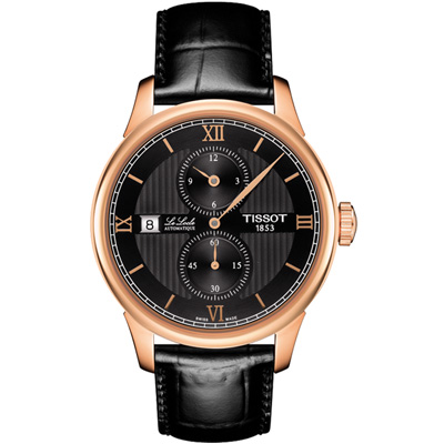 TISSOT 天梭  LE LOCLE 力洛克系列 紳士機械腕錶-黑x玫瑰金框/40mm