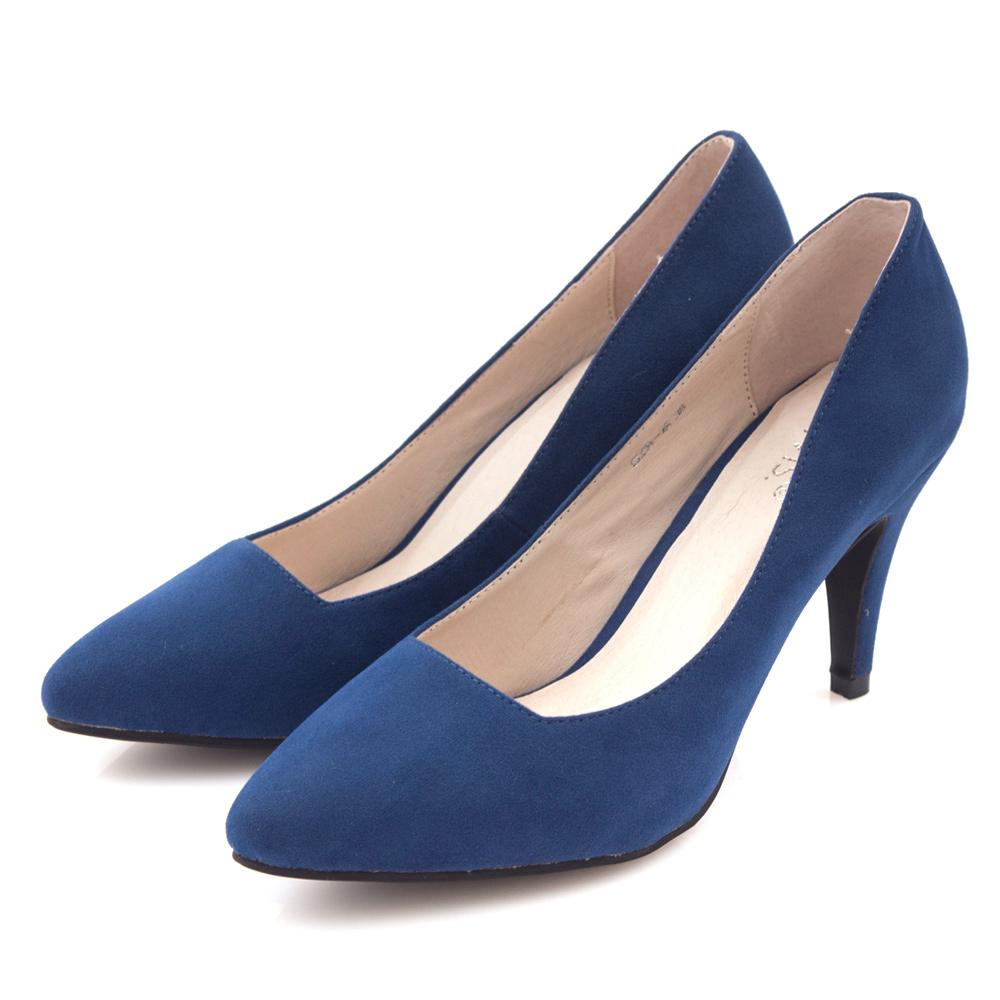 G.Ms.  千金氣質-麂細絨布小尖頭素面高跟鞋-寶藍