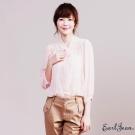 Earl Jean 領口綁帶素面雪紡衫-淺粉紅-女