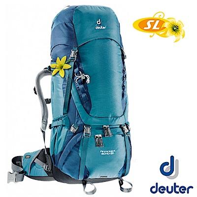 【Deuter】女 AIRCONTACT 60+10SL 登山健行透氣背包_湖綠/藍