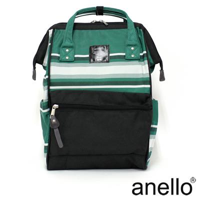 日本正版anello 寬條紋撞色後背包 黑綠  L