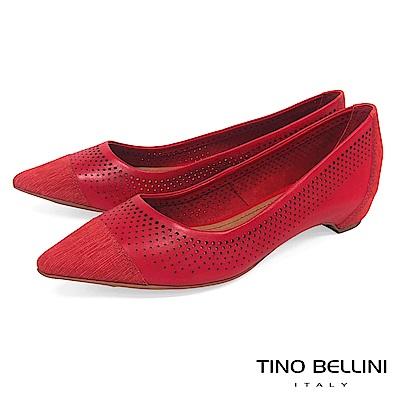 Tino Bellini 巴西進口沖孔拼接尖頭平底鞋_ 紅
