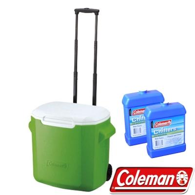 Coleman   0491 綠  26 . 5 L拖輪置物型冰桶+冷媒 2 入 行動冰箱/保冰袋/保冷袋