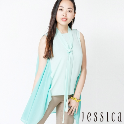 JESSICA - 氣質拼接修身無袖上衣(附綁帶)
