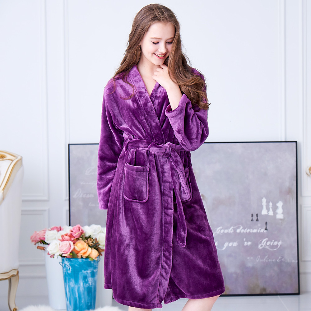 睡衣 極暖柔軟水貂絨女性長袖睡袍(29242)葡萄紫-蕾妮塔塔