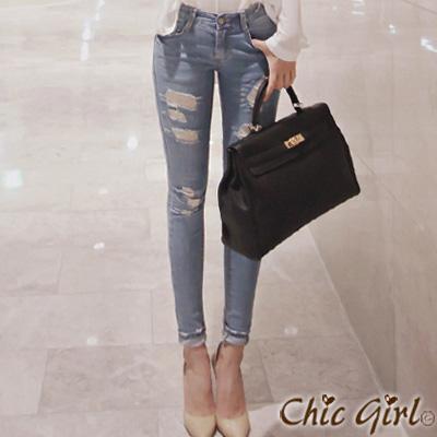 正韓 個性破損感抽鬚洗色牛仔褲(藍色)-Chic Girl