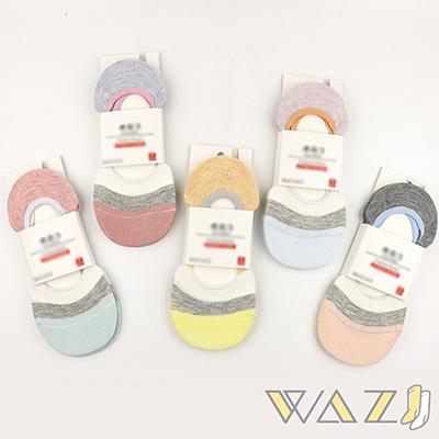 Wazi-粉嫩拼色防滑隱形襪 (1組五入)