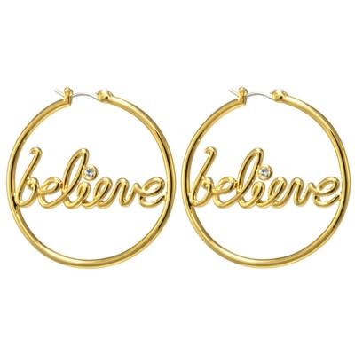 迪士尼 DISNEY COUTURE 小精靈 BELIEVE 水晶金色圓形耳環 心想事成