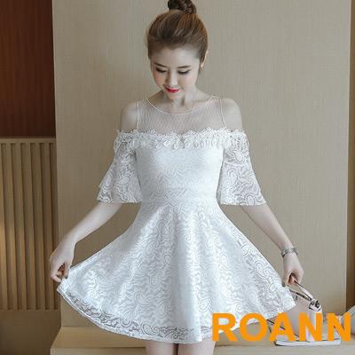 拼接透膚網紗露肩縷空蕾絲洋裝 (白色)-ROANN