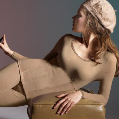 曼黛瑪璉-美體輕塑衣-長袖輕塑衛生衣-咖啡膚