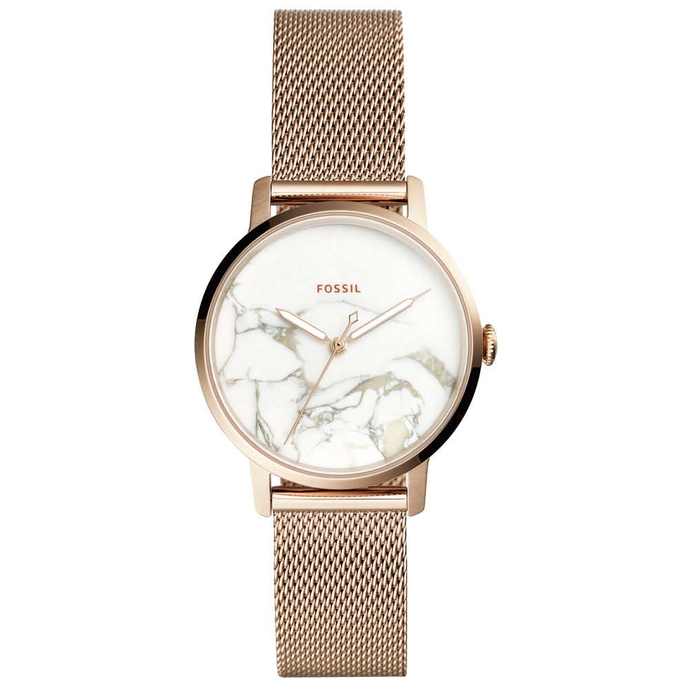 FOSSIL Neely簡約風尚米蘭帶手錶(ES4404)-大理石紋X淡金/34mm