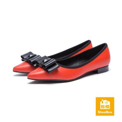 鞋櫃ShoeBox-高跟鞋-立體蝴蝶結滾邊低跟鞋-桔紅
