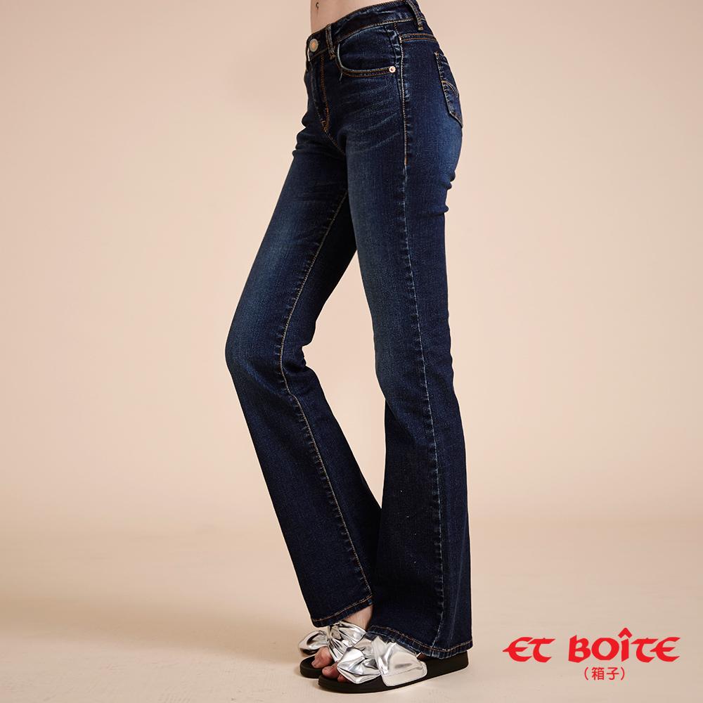 ETBOITE 箱子 BLUE WAY 全方位美型計畫-經典凸繡彈力高腰靴型褲