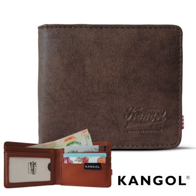KANGOL 韓式潮流 多夾層橫式短皮夾+鑰匙圈禮盒-皮紋褐