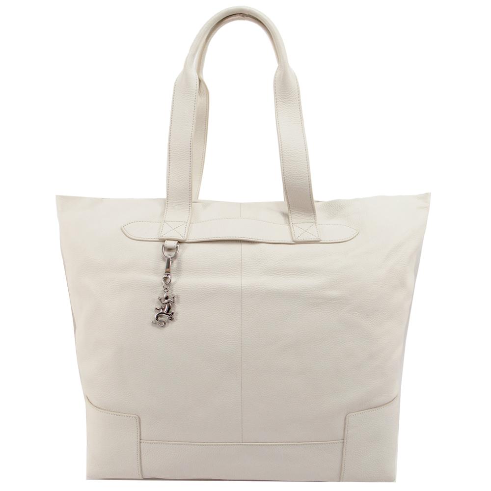 agnes b. 蜥蜴皮革肩背旅行袋-白