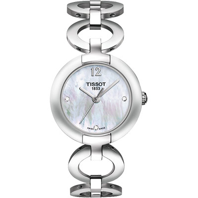 TISSOT Pinky 粉紅佳人真鑽腕錶-珍珠貝/28mm