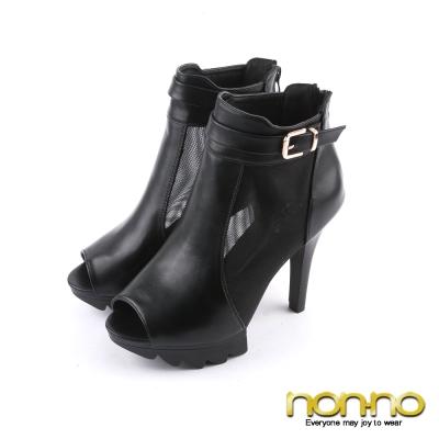 nonno-歐美率性-金屬扣環簍空魚口高跟鞋-黑