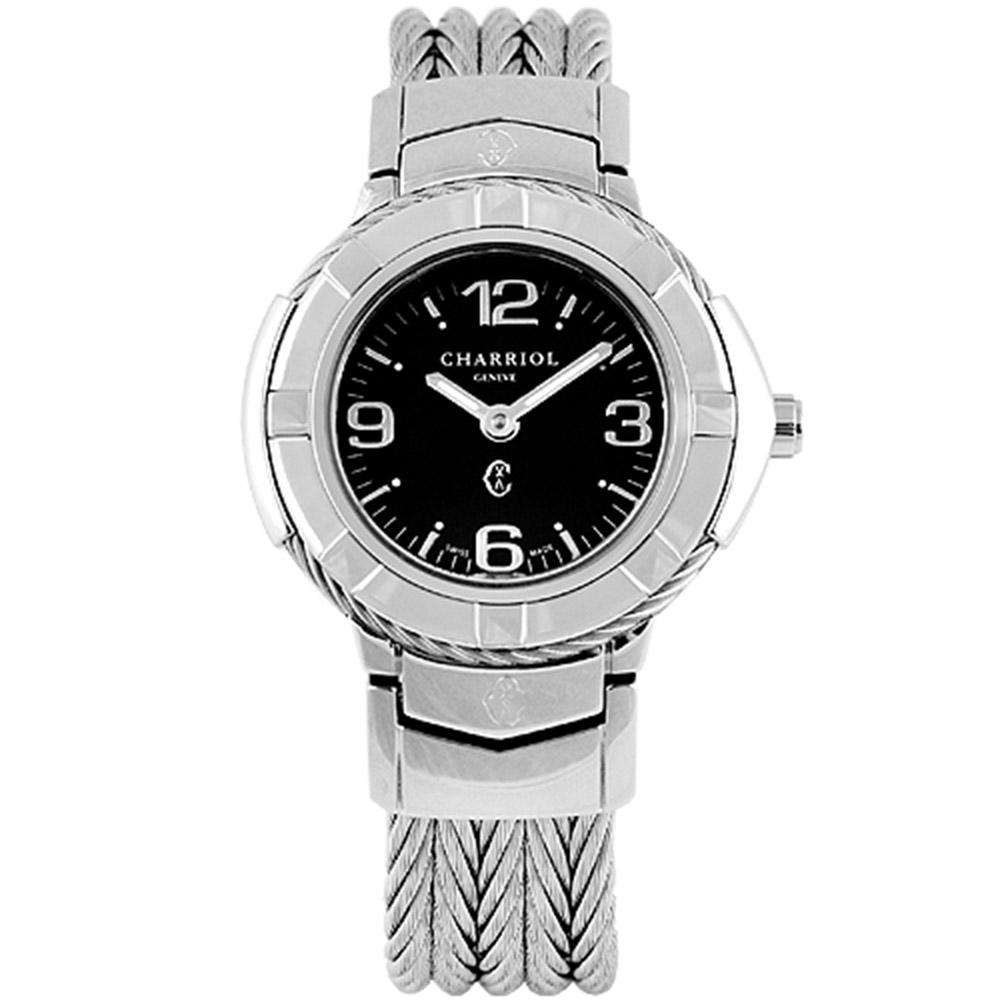 CHARRIOL 夏利豪New時尚經典鋼索腕錶-黑/26mm