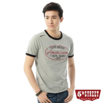 5th STREET T恤 AMERICAN草寫繡字T恤-男-灰色