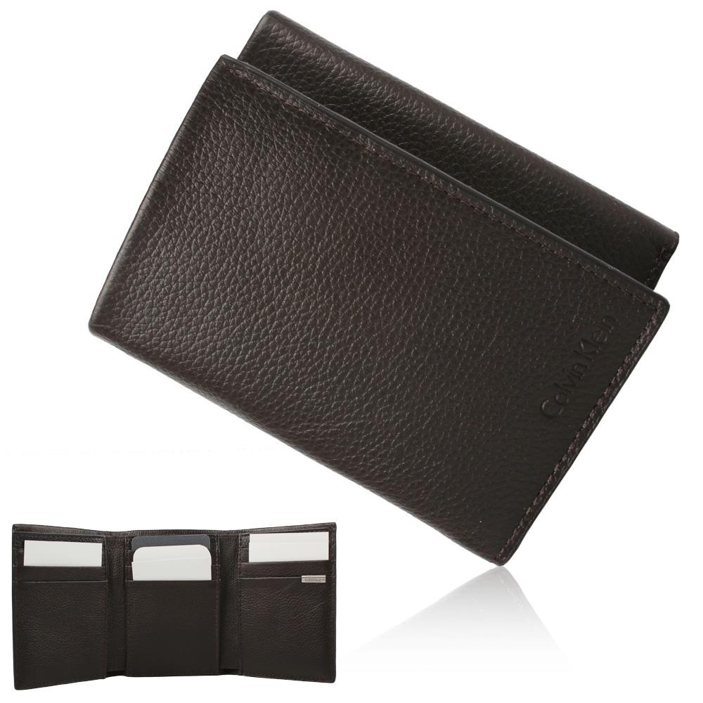 Calvin Klein 荔枝紋三折短夾鑰匙圈禮盒-咖啡/黑