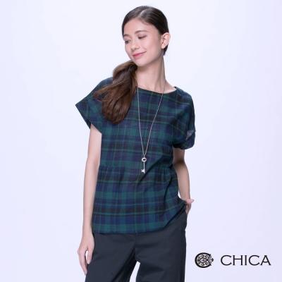 CHICA-森林女孩藍綠格紋造型上衣-1色