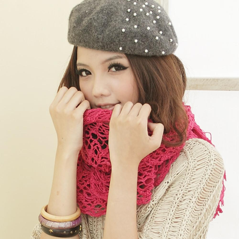 【I-shi】暖呼呼~毛織鏤空厚款圍巾(桃紅)