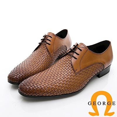 GEORGE 喬治-商務系列 編織綁帶紳士皮鞋-棕
