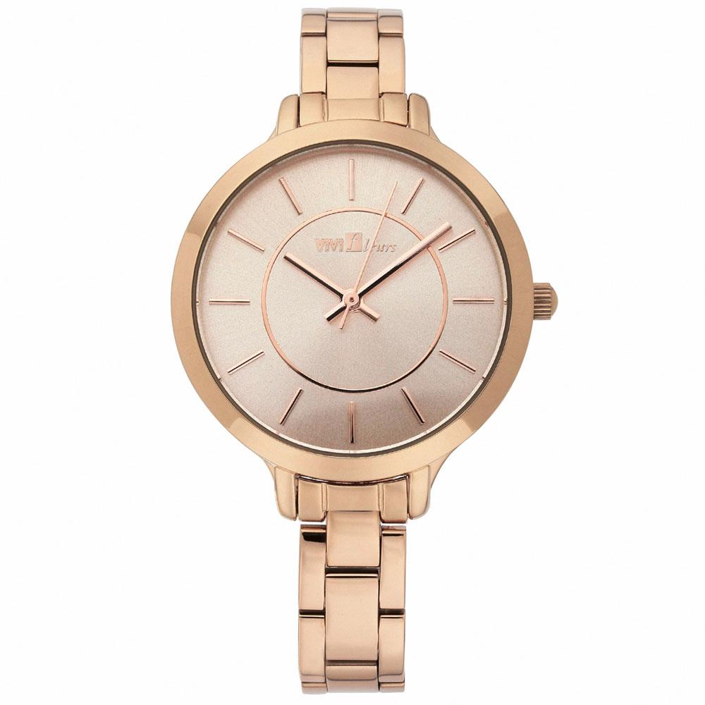 ViVi Fleurs 漾采佳人不鏽鋼時尚腕錶-玫瑰金/33mm